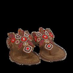 Ciabatte infradito cuoio in camoscio , Chaussures, 15K808334CMCUOI035, 002a