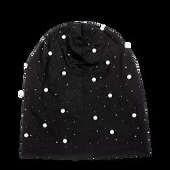 Berretto invernale nero in tessuto con perle, Saldi Abbigliamento, 12B480739TSNERO3XL, 001a