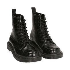 Botas militares en color negro con estampado de cocodrilo, Primadonna, 162801501CCNERO036, 002 preview