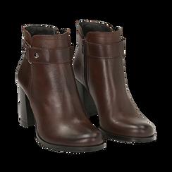 Ankle boots testa di moro in pelle di vitello, tacco 8 cm , Stivaletti, 148900604VIMORO036, 002a