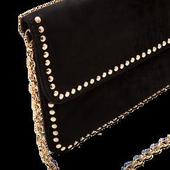 Pochette nera in microfibra scamosciata con profili borchiette, Primadonna, 123308832MFNEROUNI, 003 preview
