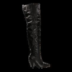 Stivali sopra il ginocchio gambale largo, tacco a cono 7,5 cm, Primadonna, 124911289EPNERO, 001 preview