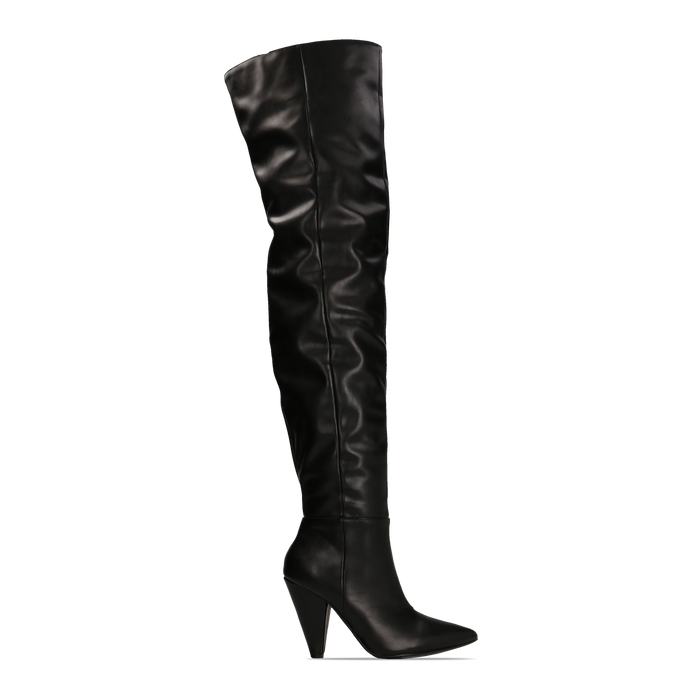 Stivali sopra il ginocchio gambale largo, tacco a cono 7,5 cm, Primadonna, 124911289EPNERO
