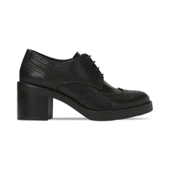 Francesine stringate nera, tacco 4 cm, Scarpe, 120683011EPNERO, 001 preview
