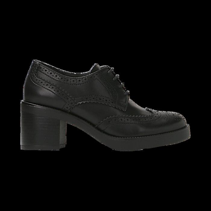 Francesine stringate nera, tacco 4 cm, Scarpe, 120683011EPNERO