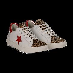 Sneakers bianco/rosse in pelle con pattina leopard, Scarpe, 13C300029PEBIRO036, 002 preview