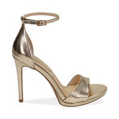 Sandali oro in eco-pelle laminata, tacco 11,50 cm, OUTLET, 152133410LMOROG040, 001 preview