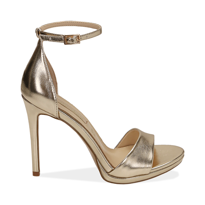 Sandali oro in eco-pelle laminata, tacco 11,50 cm, OUTLET, 152133410LMOROG040