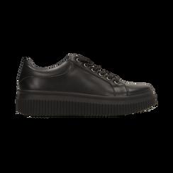 Sneakers nere effetto mirror e suola nera, Scarpe, 129312321EPNERO, 001 preview