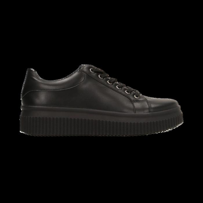 Sneakers nere effetto mirror e suola nera, Scarpe, 129312321EPNERO