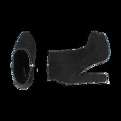 Ankle boots con plateau neri in microfibra, tacco 13,5 cm , Stivaletti, 142138410MFNERO035, 003 preview