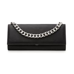 Pochette nera in eco-pelle con maxi-catena, Borse, 133322173EPNEROUNI, 001 preview