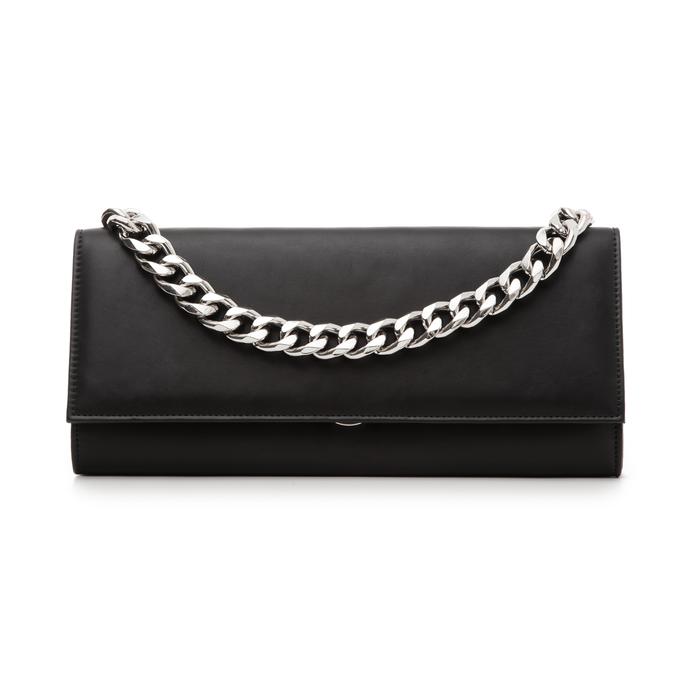 Pochette nera in eco-pelle con maxi-catena, Borse, 133322173EPNEROUNI