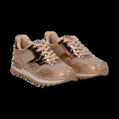 Sneakers oro in tessuto laminato e dettagli mirror, Scarpe, 130100107LMOROG036, 002 preview