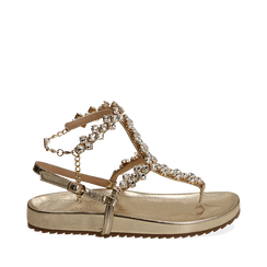 Sandali infradito gioiello oro in eco-pelle laminata, Chaussures, 154951992LMOROG036, 001a