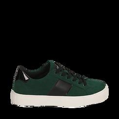 Sneakers verdi in microfibra, Scarpe, 142619071MFVERD035, 001a