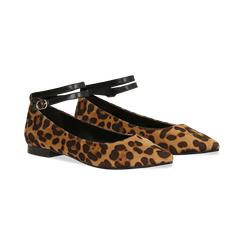 Ballerine a punta leopard in microfibra con cinturino alla caviglia,