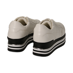 Sneakers platform bianche in eco-pelle, Scarpe, 149361611EPBIAN035, 004 preview