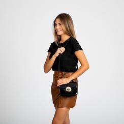 Borsa a tracolla nera in ecopelle vernice, Saldi, 122408030VENEROUNI, 006 preview