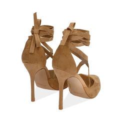 Escarpins à lacets cognac en microfibre, 11 cm, Chaussures, 172168652MFCOGN036, 004 preview