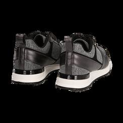 Sneakers canna di fucile glitter con dettagli in eco-pelle, Scarpe, 14D814301GLCANN036, 004 preview