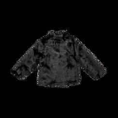 Pelliccia nera corta eco-fur, manica lunga, Saldi, 12B432301FUNERO, 005 preview