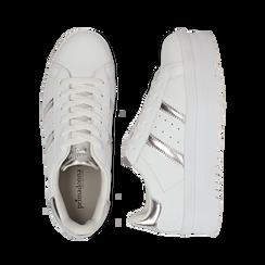 Sneakers bianche in eco-pelle con suola platform 4 cm, Scarpe, 130101010EPBIAN036, 003 preview