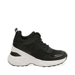 Sneakers nere in tessuto tecnico, zeppa 9 cm , Primadonna, 177590504TSNERO035, 001a