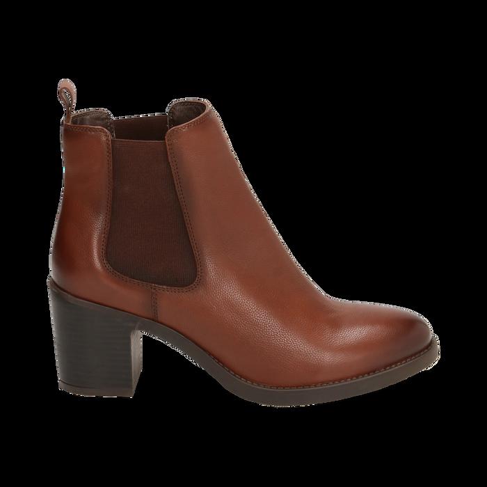 Ankle boots cuir, talon 4,50 cm, Primadonna, 169495750PECUOI035