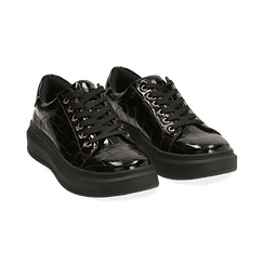 Sneakers nere in vernice effetto coccodrillo, suola 4 cm , Scarpe, 142019051VENERO035, 002 preview