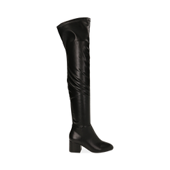 Stivali overknee neri in microfibra, tacco 6,50 cm , Primadonna, 164911283EPNERO035, 001 preview