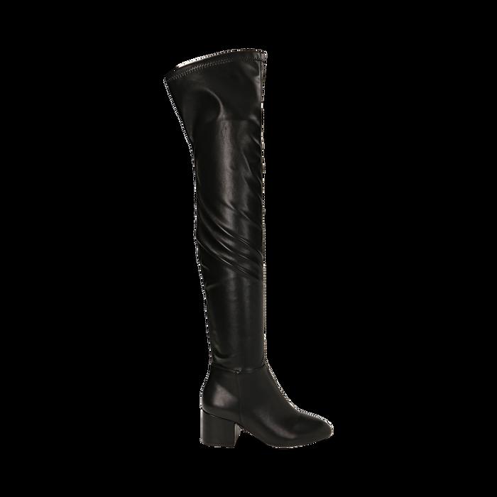 Stivali overknee neri in microfibra, tacco 6,50 cm , Primadonna, 164911283EPNERO035