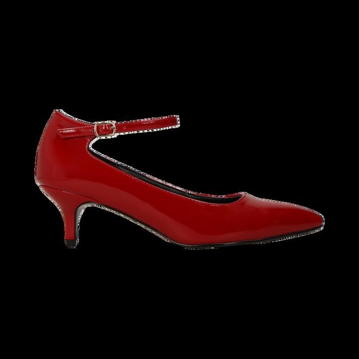 Décolleté rosse kitten heels in vernice, tacco 3 cm, Primadonna, 124951721VEROSS035