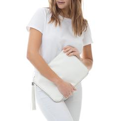 Bustina bianca in eco-pelle con profilo di mini-boules, Borse, 113308956EPBIANUNI, 002 preview