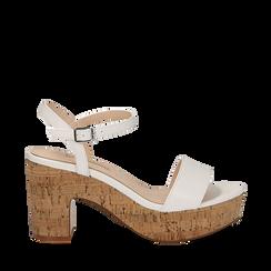 Sandali bianchi in eco-pelle, tacco in sughero 9 cm, Saldi Estivi, 138402256EPBIAN035, 001a