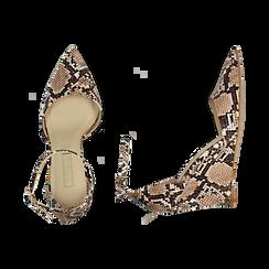Escarpins en simili-cuir beige imprimé python, compensé 8,5 cm , Chaussures, 152151841PTBEIG036, 003 preview