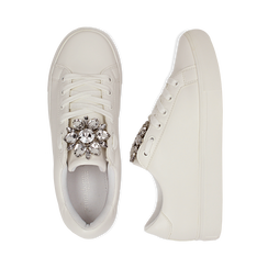 Sneakers bianche in eco-pelle con gemme scintillanti, Scarpe, 132619101EPBIAN036, 003 preview