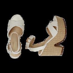 Sandali bianchi in eco-pelle, tacco-zeppa 11,50 cm , Primadonna, 154935671EPBIAN035, 003 preview