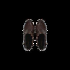 Tronchetti marroni in vera pelle con cinturino, tacco 6 cm, Scarpe, 127718308PEMARR, 004 preview