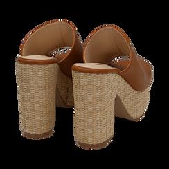 Mules cuoio in eco-pelle, tacco-zeppa 11 cm , Zapatos, 154903266EPCUOI036, 004 preview