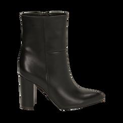 Ankle boots a punta neri, tacco 9,50 cm , Primadonna, 163026508EPNERO035, 001 preview