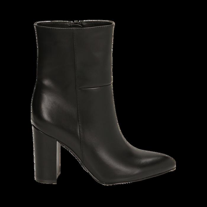 Ankle boots a punta neri, tacco 9,50 cm , Primadonna, 163026508EPNERO035