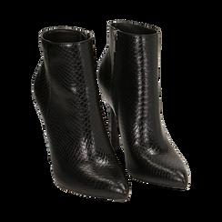 Ankle boots neri stampa vipera, tacco 11 cm , Primadonna, 162168616EVNERO036, 002 preview