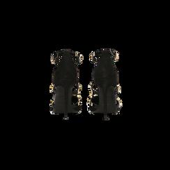 Décolleté nere scamosciate con cinturino a T borchiato, tacco stiletto 10 cm, Scarpe, 122146820MFNERO, 003 preview