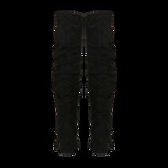 Stivali neri scamosciati con gambale drappeggiato, tacco quadrato medio 5 cm, Primadonna, 122707419MFNERO, 003 preview