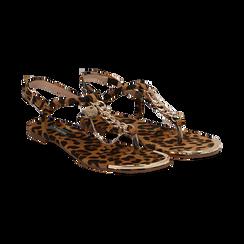 Sandali infradito flat leopard in microfibra, con catenelle,