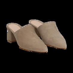 Mules taupe in camoscio con punta affusolata, tacco 6 cm, Scarpe, 13D602204CMTAUP036, 002 preview