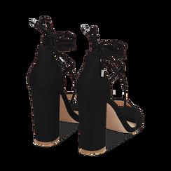 Sandali lace-up neri in microfibra, tacco 10,50 cm, Scarpe, 152760851MFNERO036, 004 preview