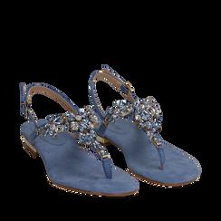 Sandali gioiello infradito azzurri in microfibra, Primadonna, 134994221MFAZZU035, 002a
