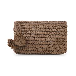 Pochette mare marrone in paglia intrecciata, Saldi Estivi, 134504239PGMARRUNI, 001 preview